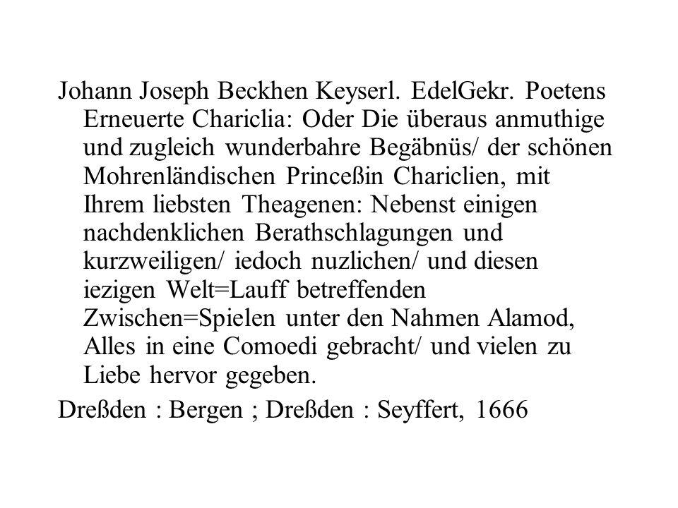 Johann Joseph Beckhen Keyserl. EdelGekr