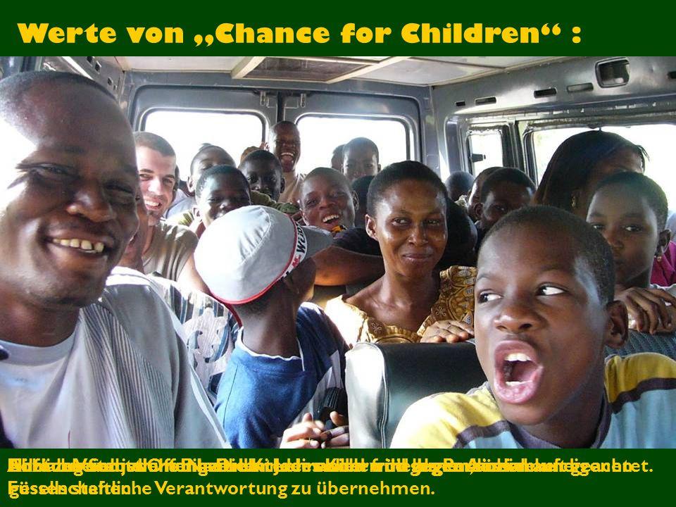"""Werte von """"Chance for Children :"""