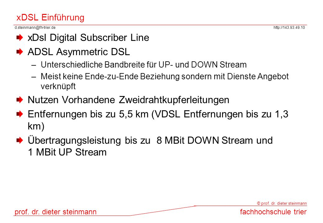 xDsl Digital Subscriber Line ADSL Asymmetric DSL