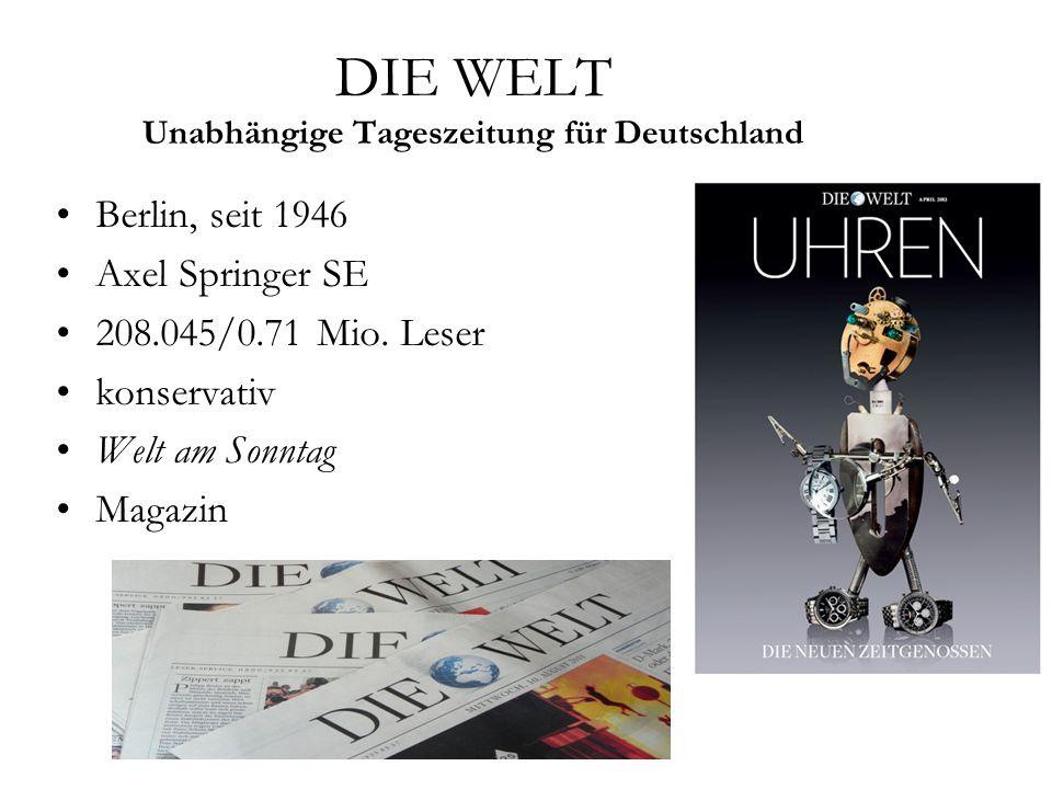 DIE WELT Unabhängige Tageszeitung für Deutschland