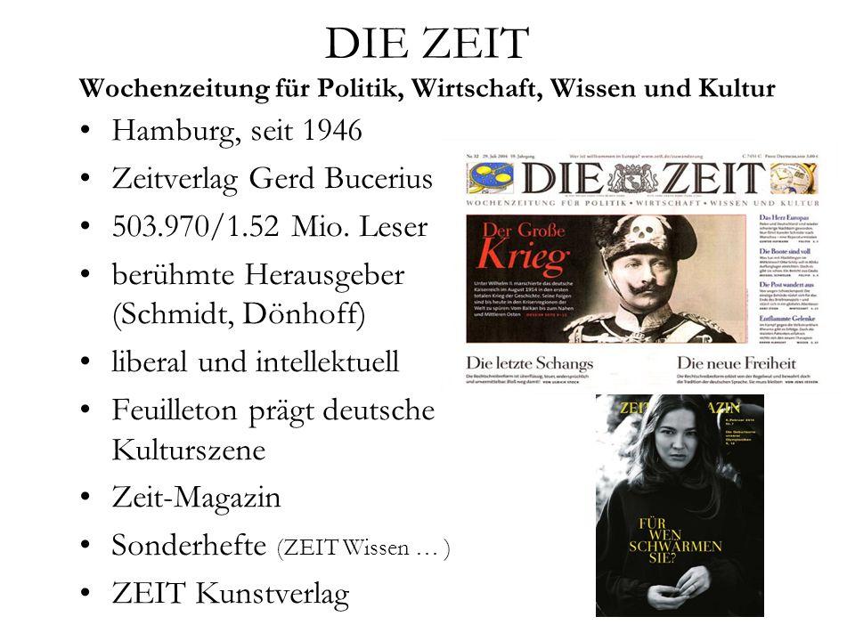 DIE ZEIT Wochenzeitung für Politik, Wirtschaft, Wissen und Kultur