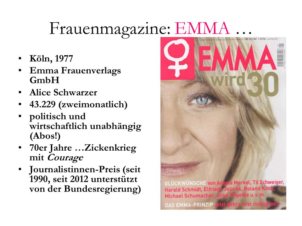 Frauenmagazine: EMMA …