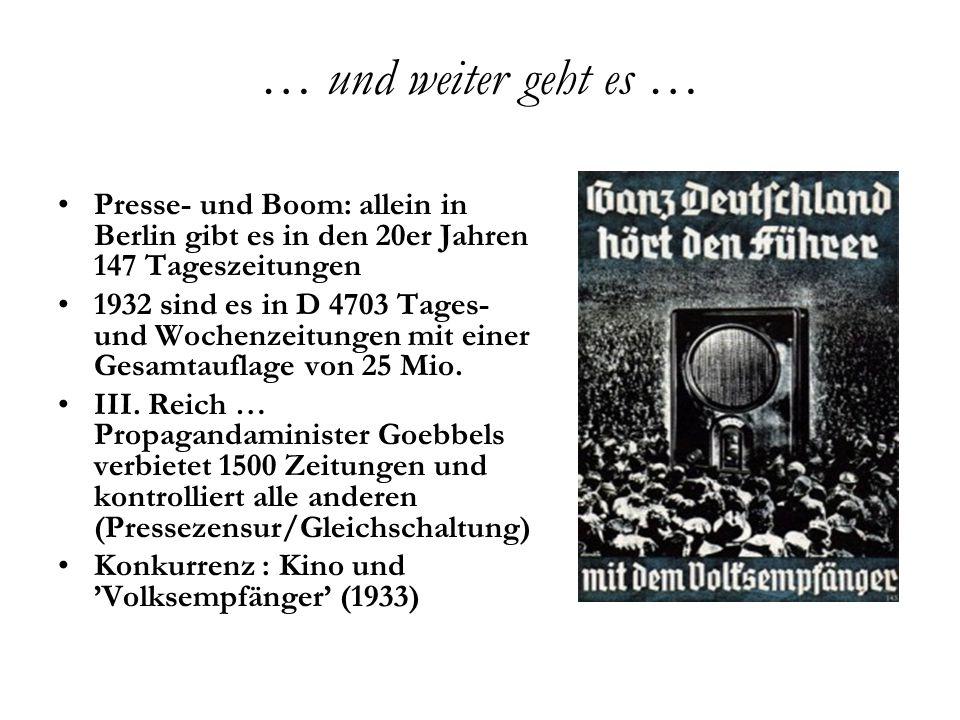… und weiter geht es … Presse- und Boom: allein in Berlin gibt es in den 20er Jahren 147 Tageszeitungen.