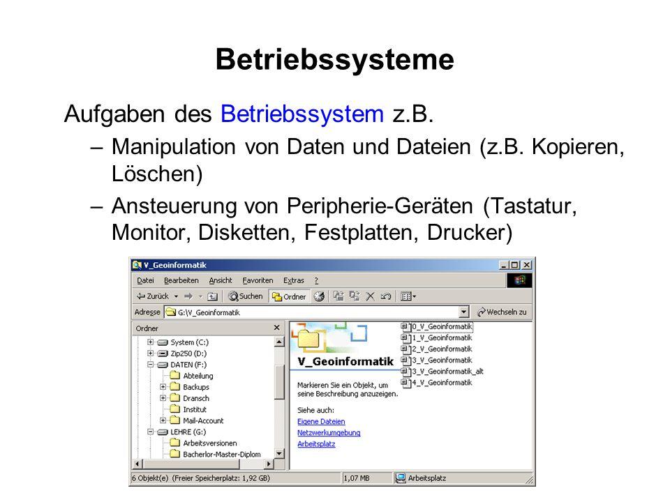 Betriebssysteme Aufgaben des Betriebssystem z.B.