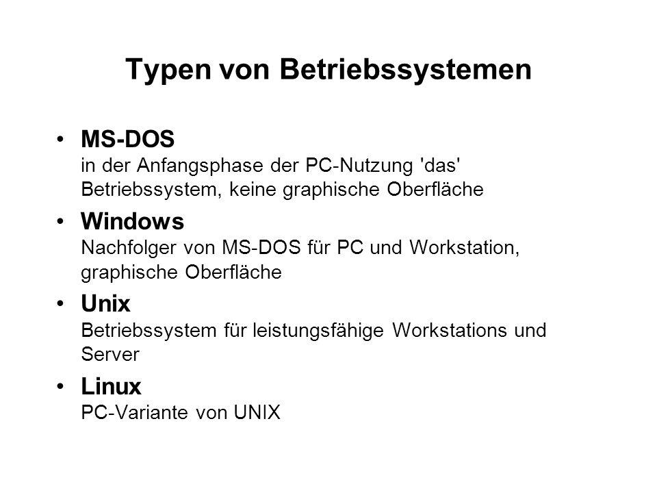 Typen von Betriebssystemen