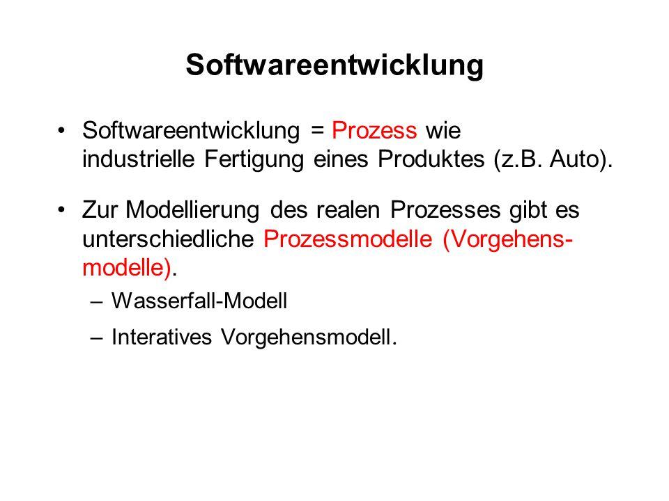 Softwareentwicklung Softwareentwicklung = Prozess wie industrielle Fertigung eines Produktes (z.B. Auto).