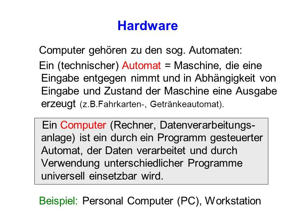 Hardware Computer gehören zu den sog. Automaten: