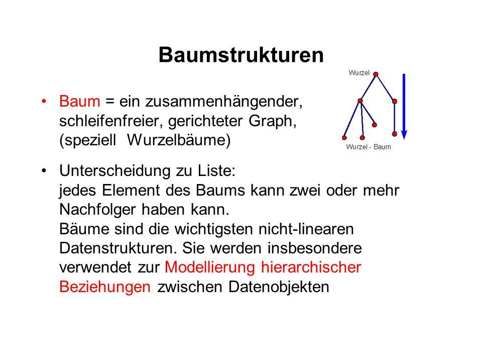 Baumstrukturen Baum = ein zusammenhängender, schleifenfreier, gerichteter Graph, (speziell Wurzelbäume)