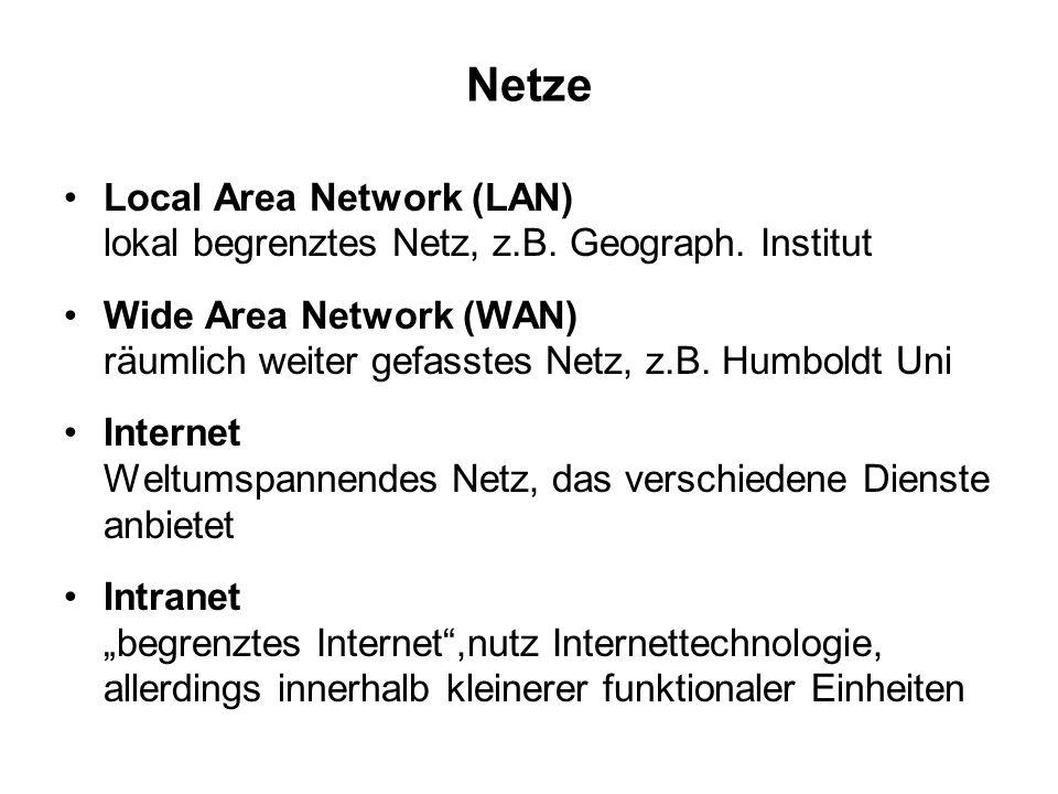 Netze Local Area Network (LAN) lokal begrenztes Netz, z.B. Geograph. Institut.