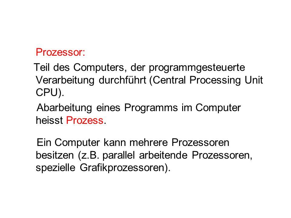 Prozessor: Teil des Computers, der programmgesteuerte Verarbeitung durchführt (Central Processing Unit CPU).