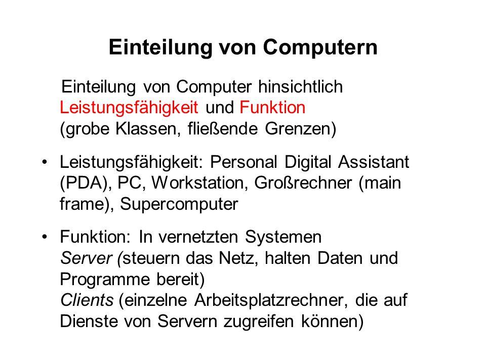 Einteilung von Computern