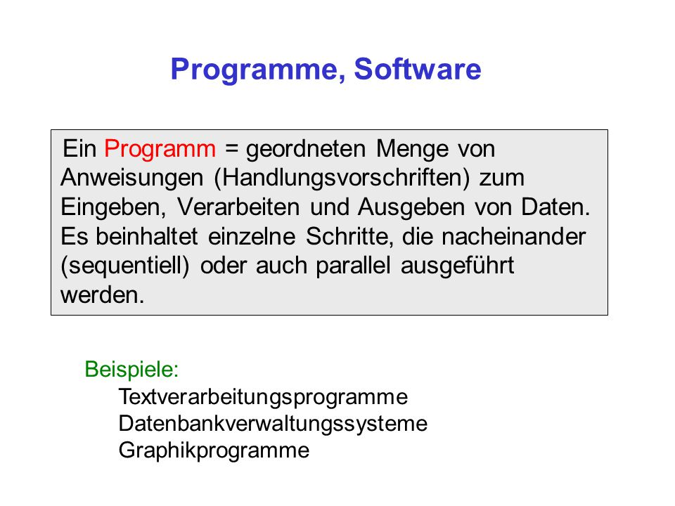 Programme, Software