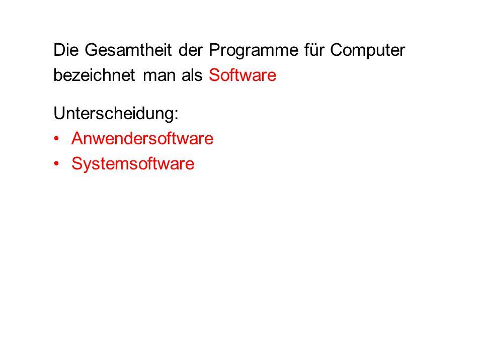 Die Gesamtheit der Programme für Computer