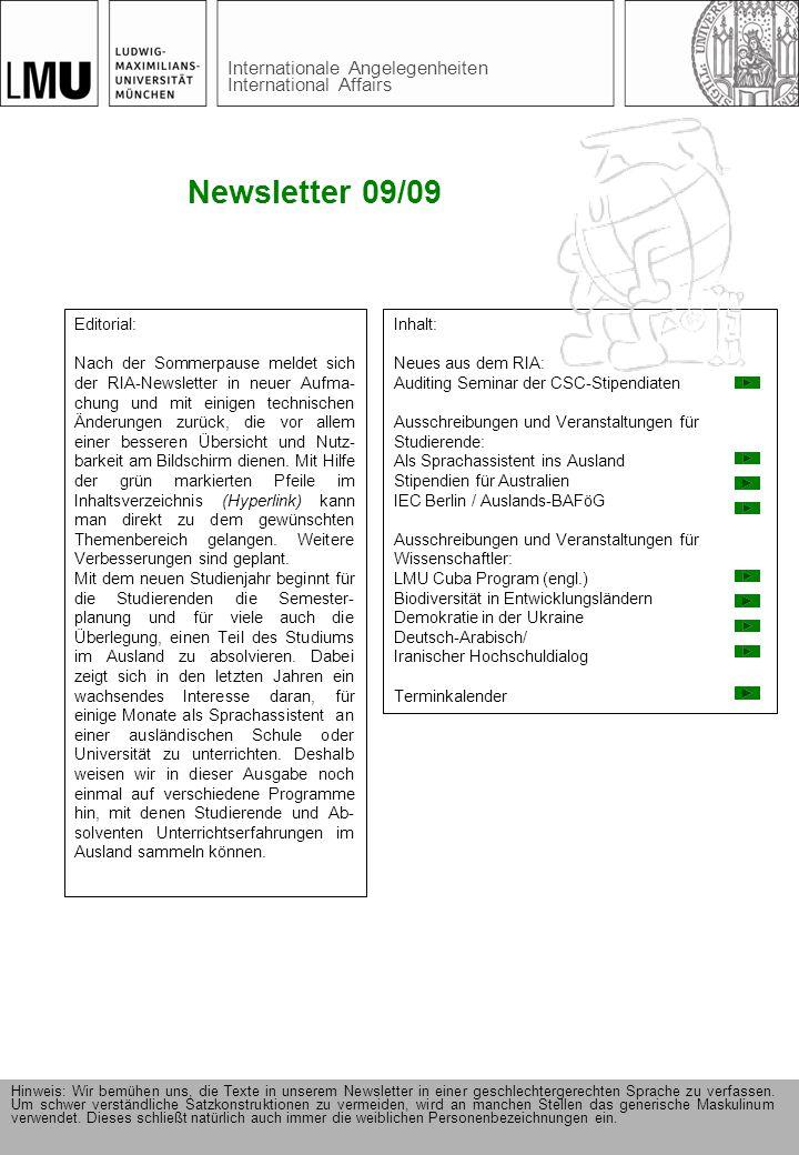 Newsletter 09/09 Editorial: