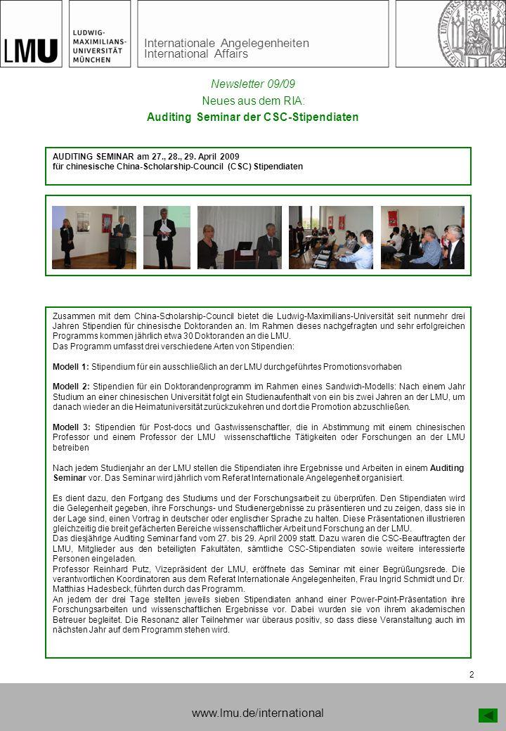 Auditing Seminar der CSC-Stipendiaten