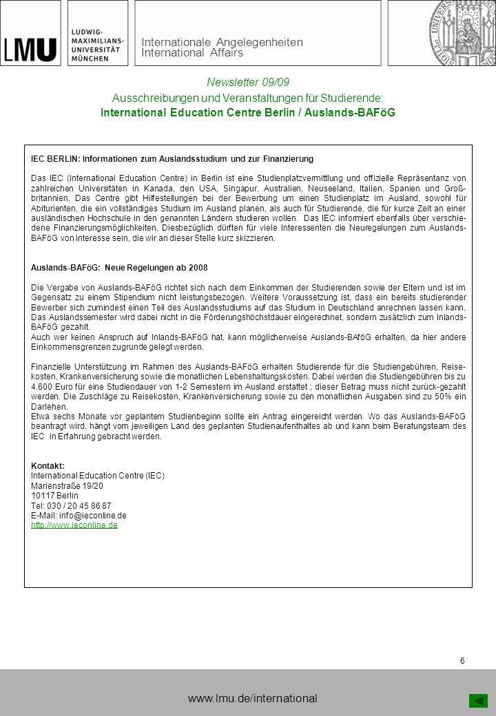 www.lmu.de/international Newsletter 09/09