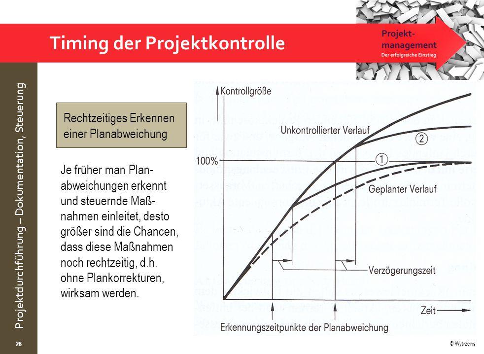 Timing der Projektkontrolle
