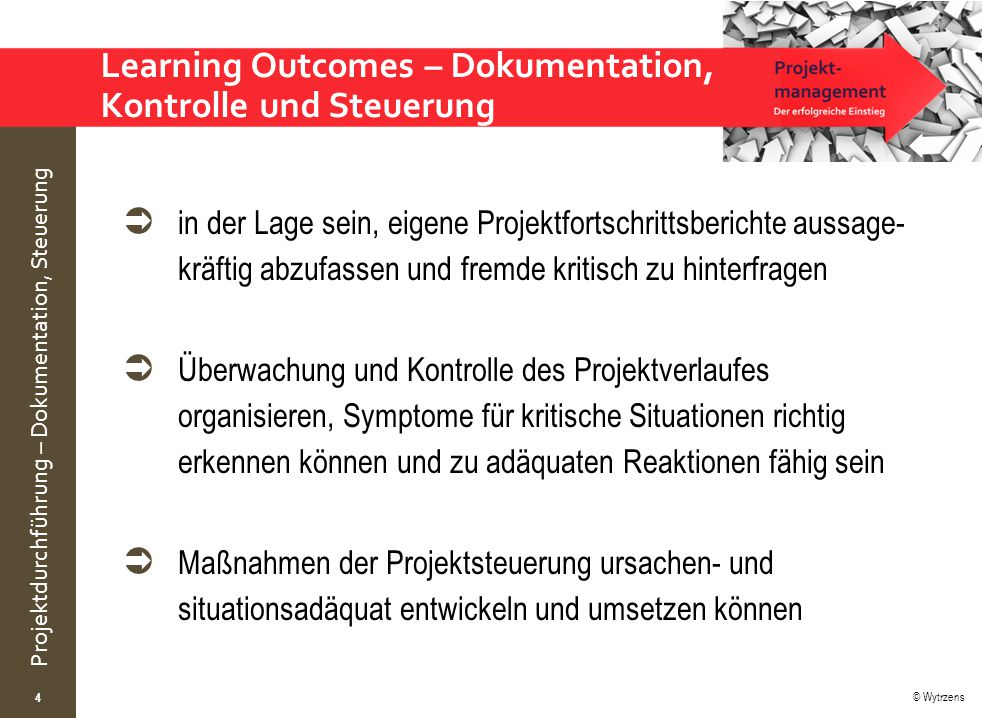 Learning Outcomes – Dokumentation, Kontrolle und Steuerung