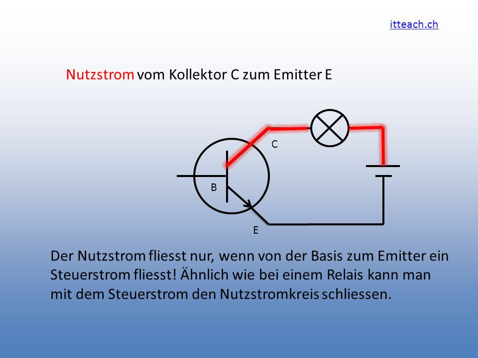 Nutzstrom vom Kollektor C zum Emitter E