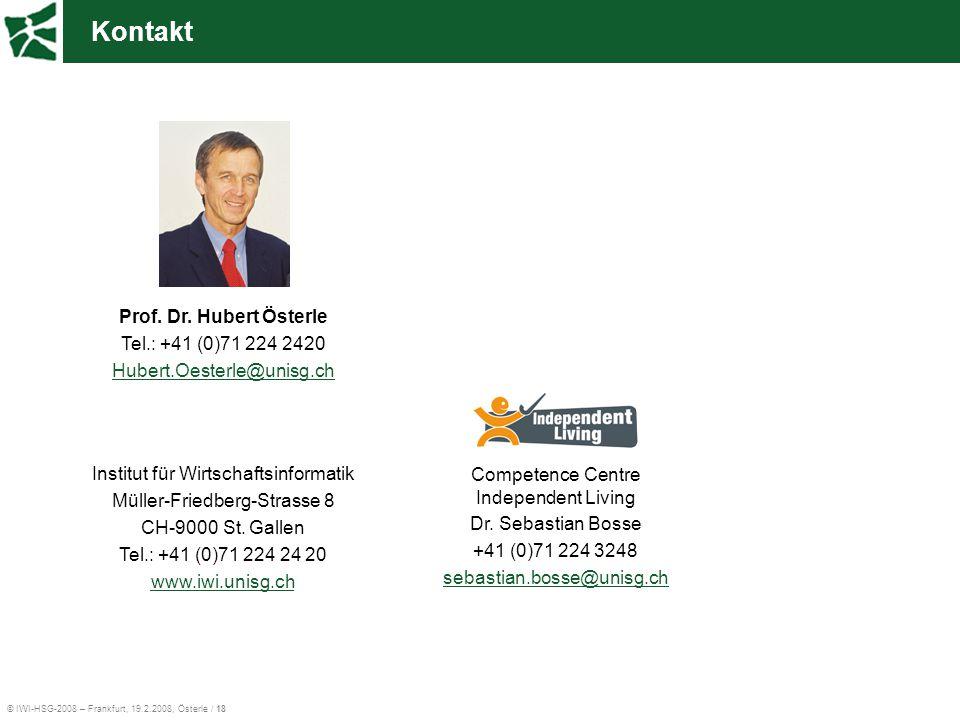 Kontakt Prof. Dr. Hubert Österle Tel.: +41 (0)71 224 2420