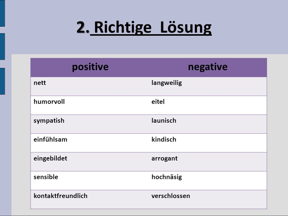 2. Richtige Lösung negative positive nett langweilig humorvoll eitel
