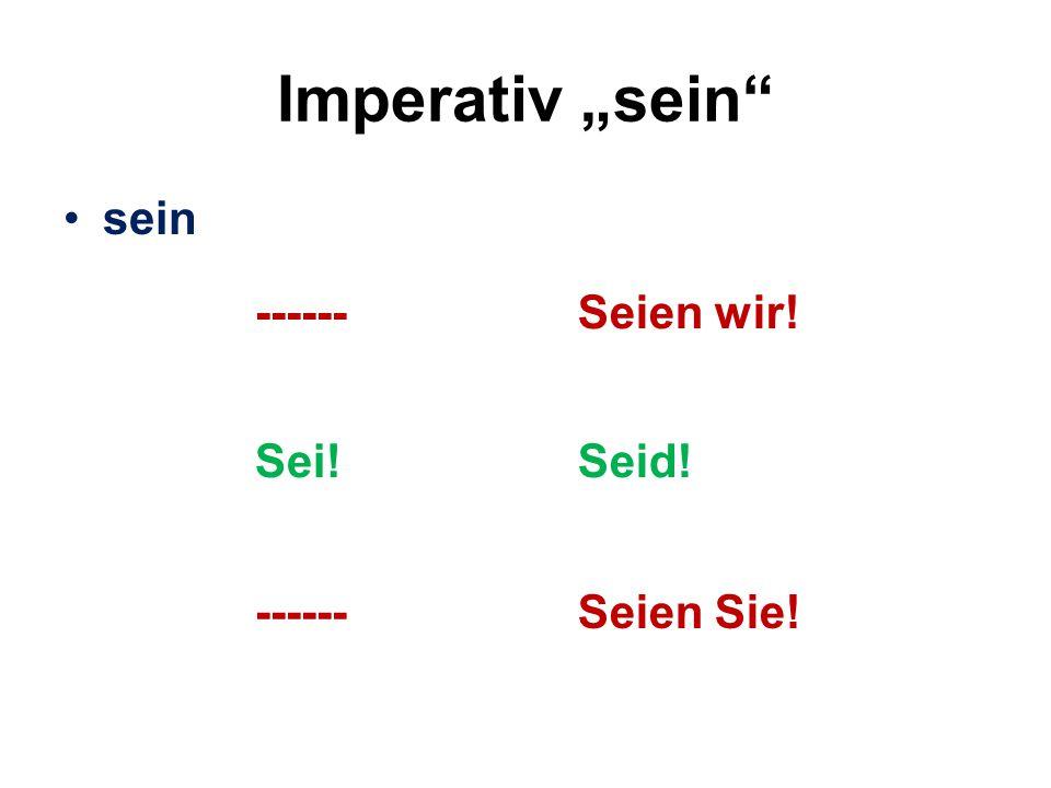 """Imperativ """"sein sein ------ Seien wir! Sei! Seid! Seien Sie!"""