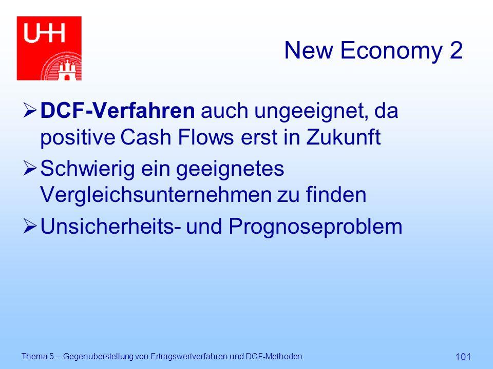 New Economy 2 DCF-Verfahren auch ungeeignet, da positive Cash Flows erst in Zukunft. Schwierig ein geeignetes Vergleichsunternehmen zu finden.