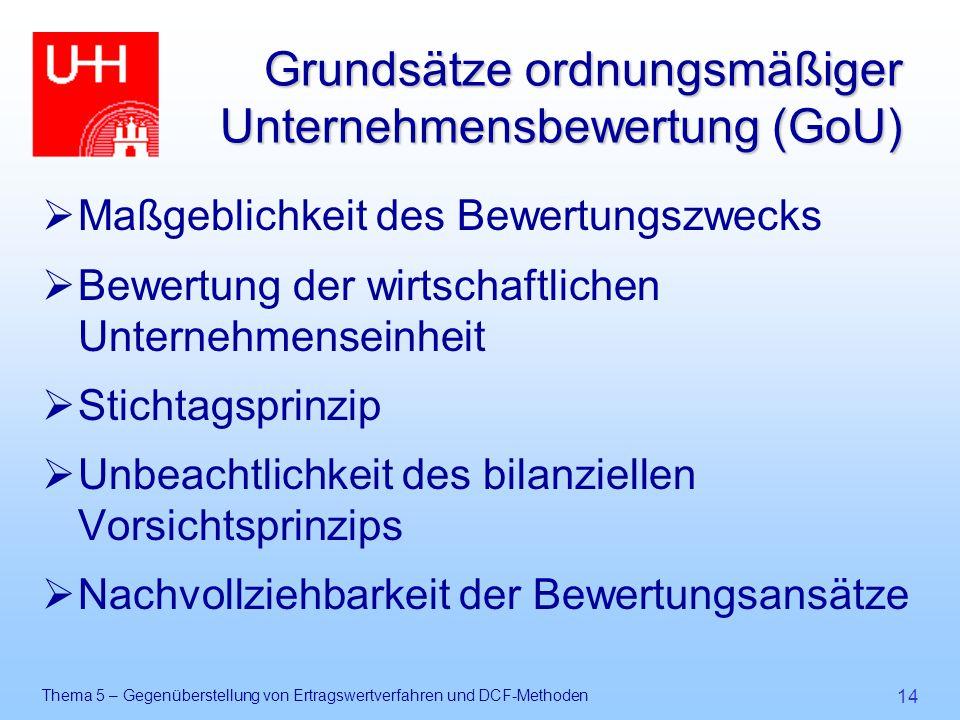 Grundsätze ordnungsmäßiger Unternehmensbewertung (GoU)