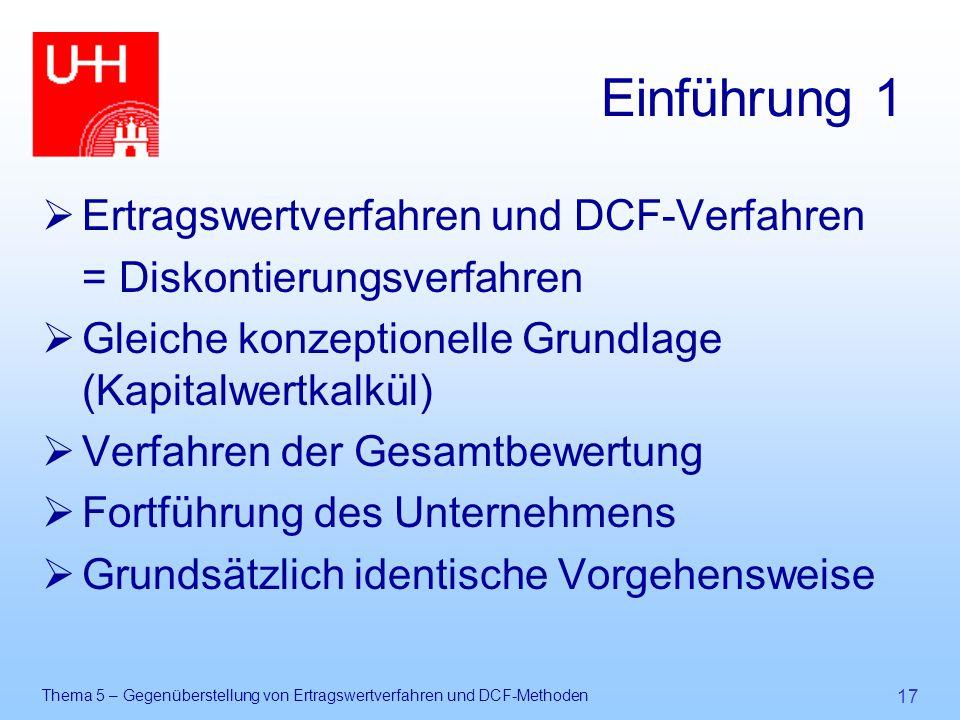Einführung 1 Ertragswertverfahren und DCF-Verfahren