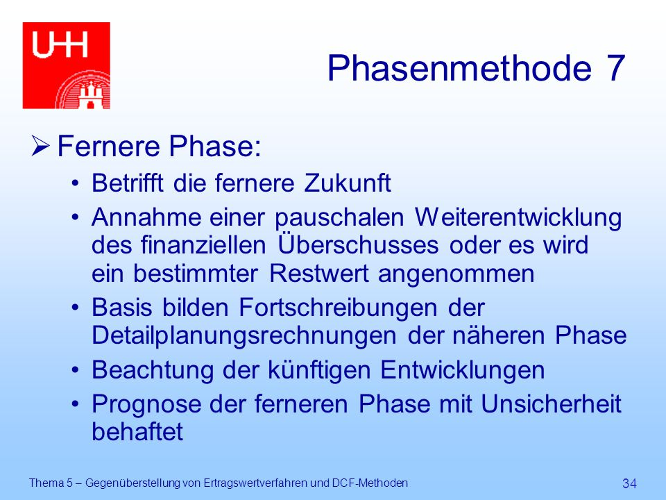 Phasenmethode 7 Fernere Phase: Betrifft die fernere Zukunft