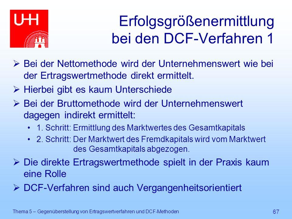 Erfolgsgrößenermittlung bei den DCF-Verfahren 1
