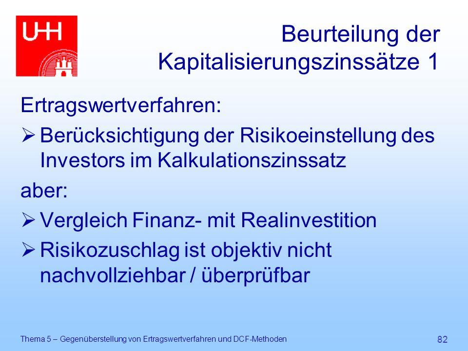 Beurteilung der Kapitalisierungszinssätze 1