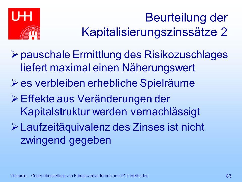 Beurteilung der Kapitalisierungszinssätze 2