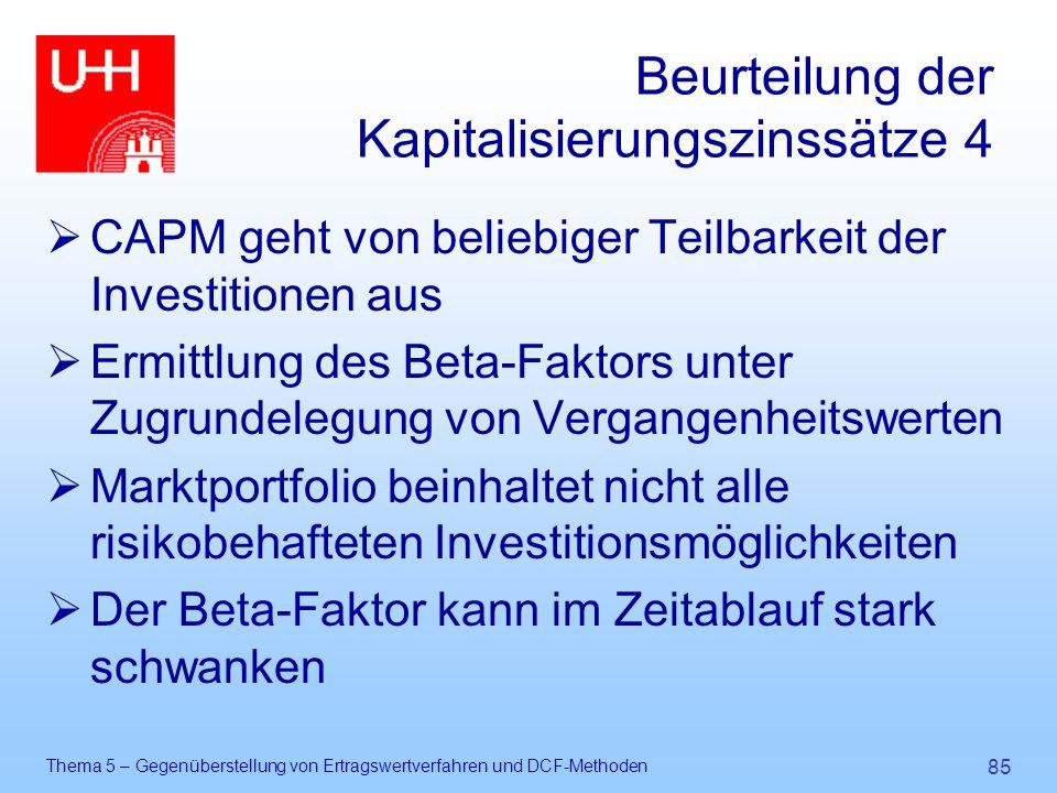 Beurteilung der Kapitalisierungszinssätze 4