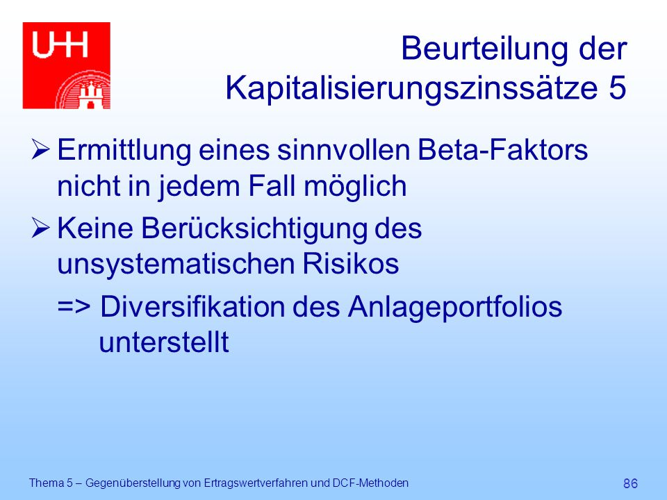 Beurteilung der Kapitalisierungszinssätze 5