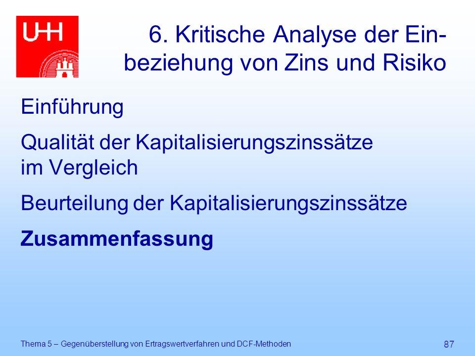 6. Kritische Analyse der Ein-beziehung von Zins und Risiko