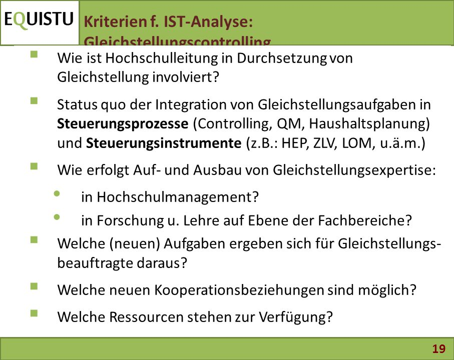 Kriterien f. IST-Analyse: Gleichstellungscontrolling