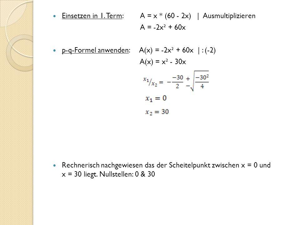Einsetzen in 1. Term: A = x * (60 - 2x) | Ausmultiplizieren