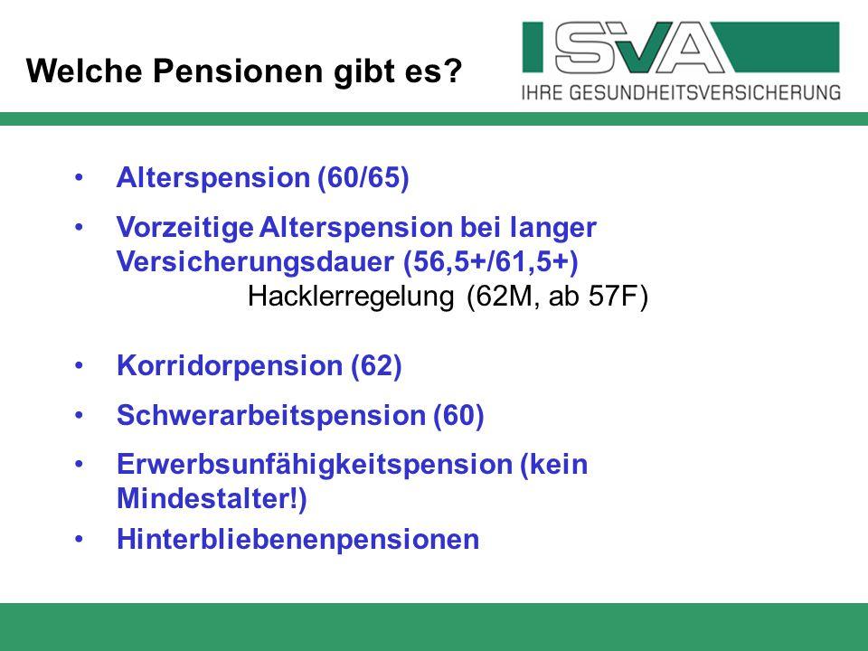 Welche Pensionen gibt es