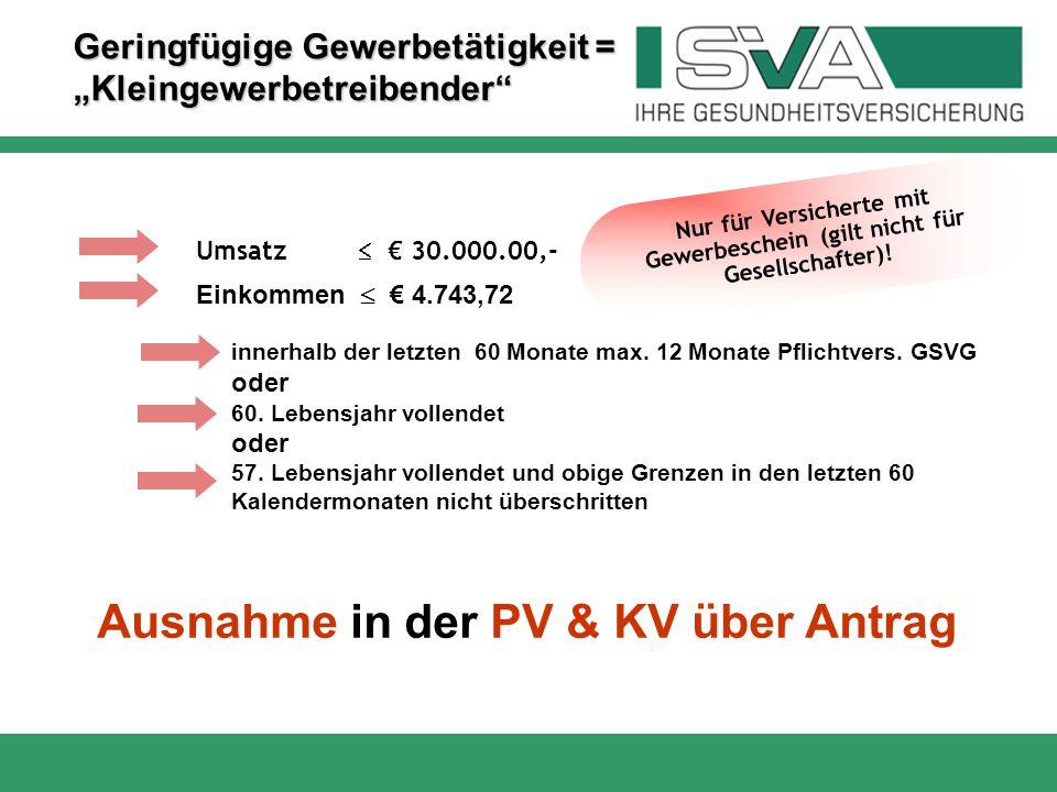 Ausnahme in der PV & KV über Antrag