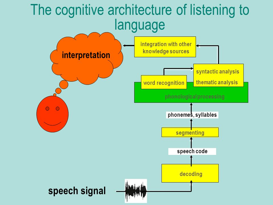 The cognitive architecture of listening to language