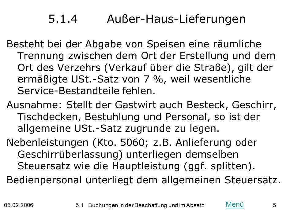 5.1.4 Außer-Haus-Lieferungen