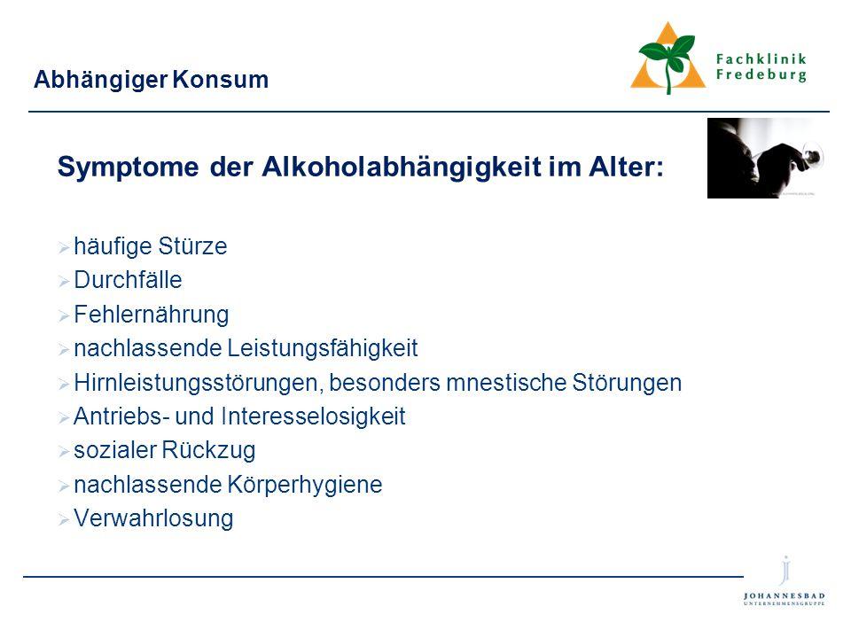 Symptome der Alkoholabhängigkeit im Alter: