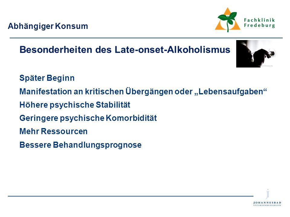 Besonderheiten des Late-onset-Alkoholismus