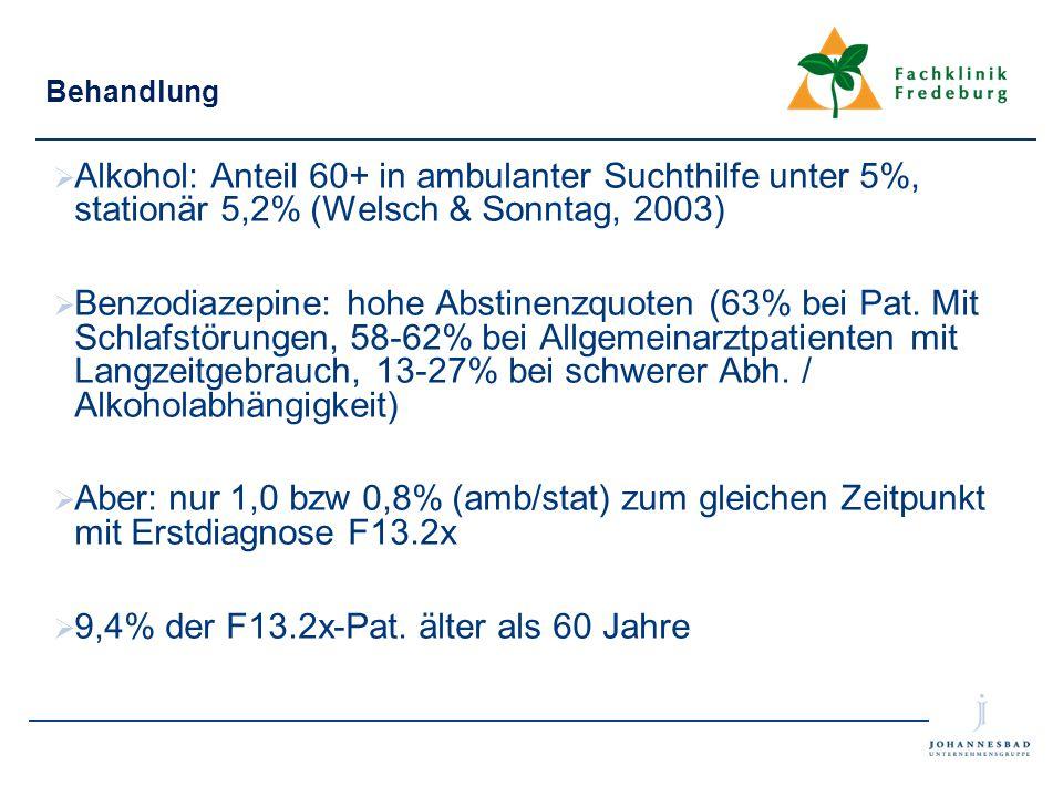 9,4% der F13.2x-Pat. älter als 60 Jahre