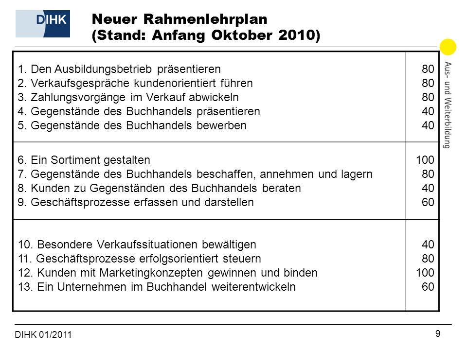 Neuer Rahmenlehrplan (Stand: Anfang Oktober 2010)