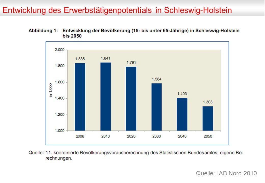 Entwicklung des Erwerbstätigenpotentials in Schleswig-Holstein