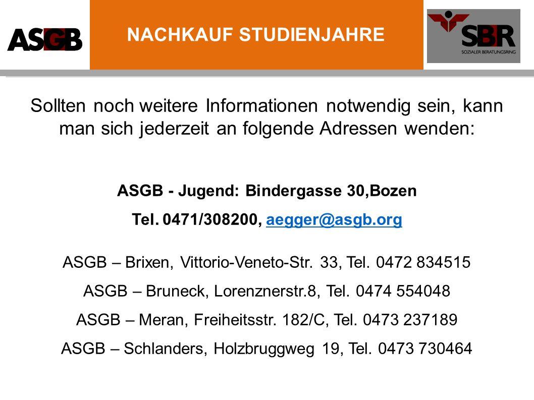 ASGB - Jugend: Bindergasse 30,Bozen