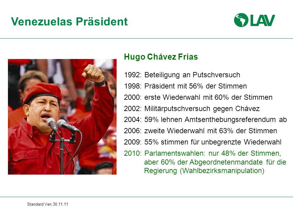 Venezuelas Präsident Hugo Chávez Frias Gesamte Folie erscheint sofort