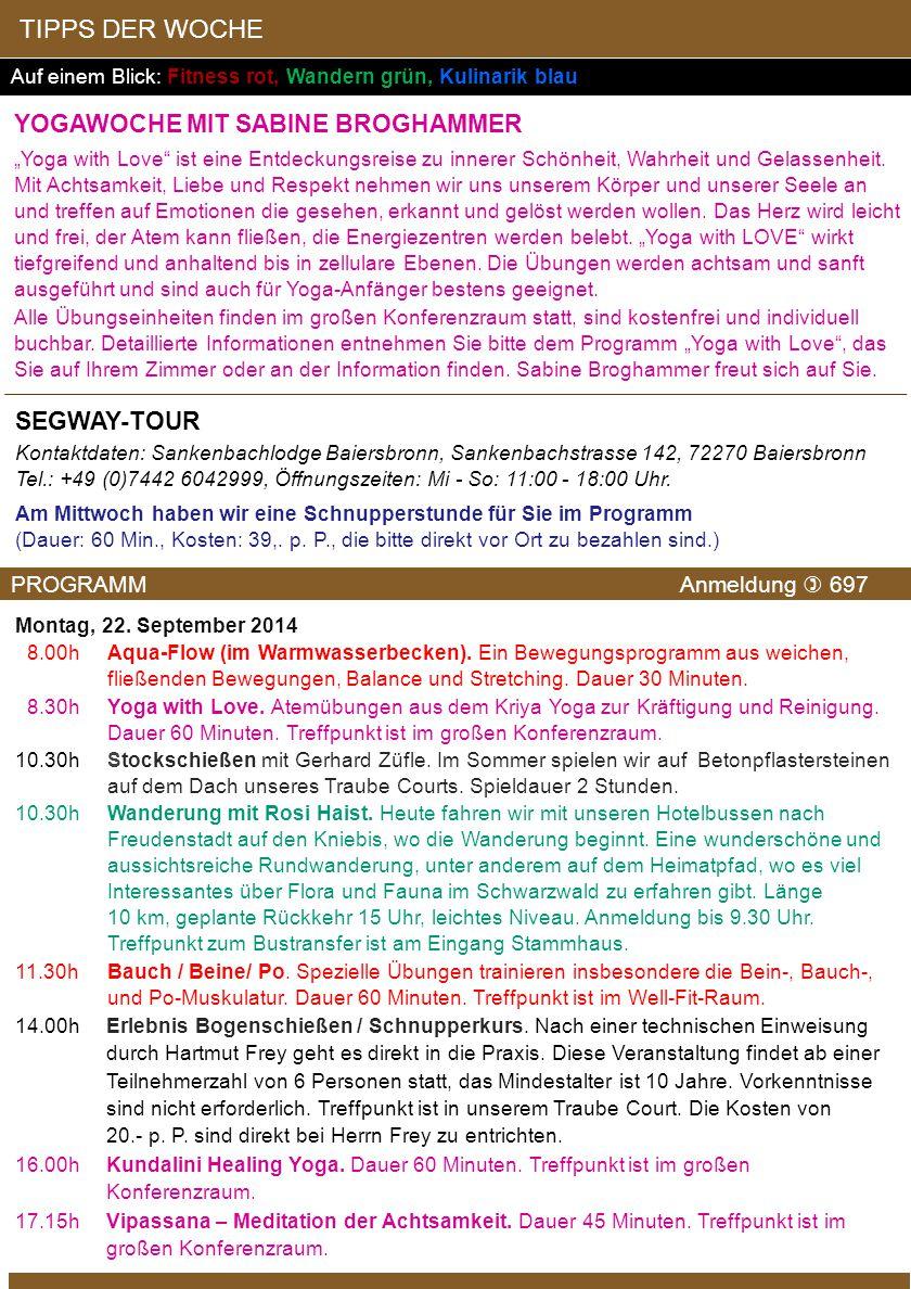 TIPPS DER WOCHE Yogawoche mit Sabine Broghammer Segway-Tour